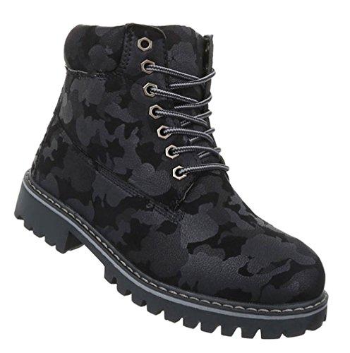 Damen Schuhe Stiefeletten Schnür Boots Schwarz Schwarz
