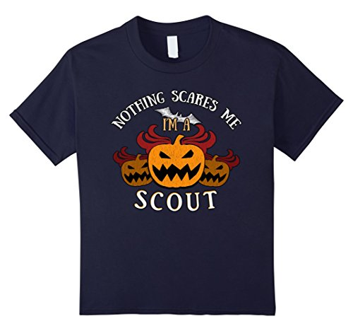 Kids Nothing Scares Me I'm Scout Tee 12 (Zombie Girl Scout Halloween Costume)