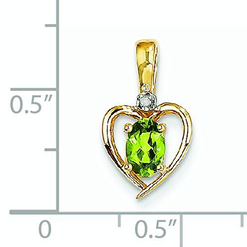 14 carats et diamants bruts Pendentif Péridot-JewelryWeb