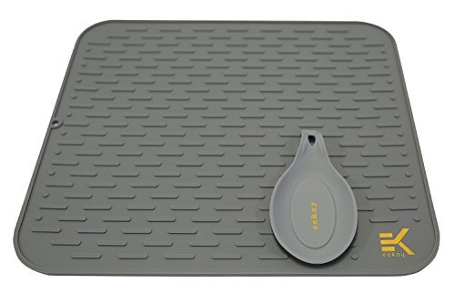 (Eekay Wares XL Gray Silicone Drying Mat with bonus silicone spoon rest & storage band for easy storage- Easy Clean, Heat Resistant, Antibacterial ( 17.8 X 15.8 Inches ))