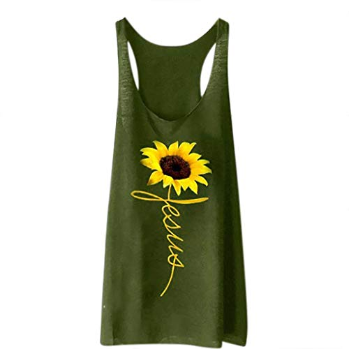 (Adeliber Women's Sleeveless Vest Summer Fashion Sunflower Print Loose T-Shirt Top Sports Pullover Long Vest Top ArmyGreen)