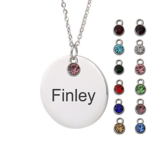 (HUAN XUN Finley Name Hawaiian Name Necklace Round Initial Necklace Personal Jewelry Birthday Valentine)