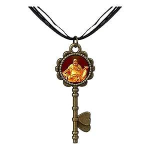 Chicforest Bronze Retro Style Religion Huge Buddha Figure Key to Her Heart Pendant Pendant Necklaces