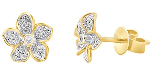 (Mothers Day Jewelry Gifts Round Cut White Natural Diamond Flower Floral Stud Earrings In 14K Solid Yellow Gold)