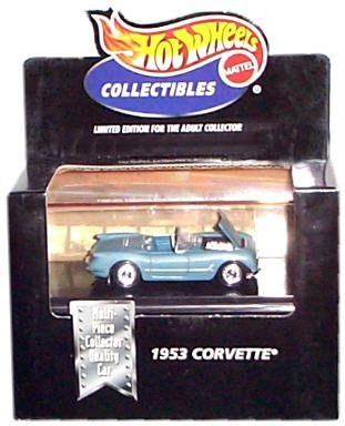 Hot Wheels Collectibles - Limited Edition Cool Collectibles - 1953 Corvette (Blue Chevrolet Convertible) - Mounted in Collector's Display Case