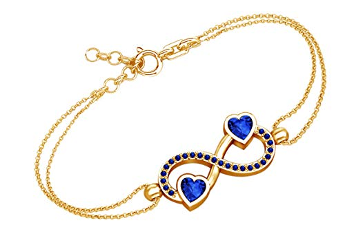 AFFY Heart & Round Shape Simulated Blue Sapphire Infinity Heart Chain Bracelets in 14k Yellow Gold Over Sterling Silver -8.5