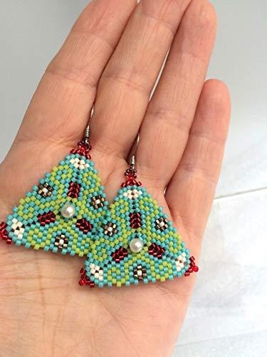 Pendientes tejidos a mano con cuentas Miyuki: Amazon.es: Handmade