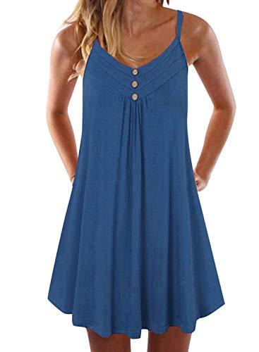 CILKOO LadiesLongTankTopFlowySwingTunicSleevelessCamiCasualSummerStretchBeachShirtPleatedFlatteringMaternitySleepwear Button Up Dress Beach Shift Dress Blue US16-18 X-Large