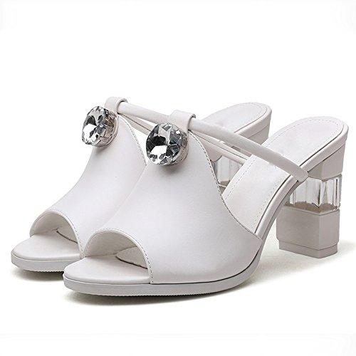 Chuanlan Salvajes Tacones Cool Sandals Mujeres cn39 Nueva Tamaño Grueso Al Eu39 Negro Aire Corea uk6 Moda Sandalias Con Blanco color De Libre Altos Zapatos Zapatillas Verano Blanco xrx8dEZwq