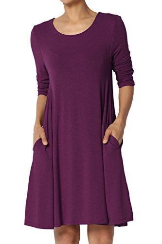 TheMogan Women's 3/4 Sleeve Pocket Swing Flared Tunic Mini Dress Dark Plum 1XL