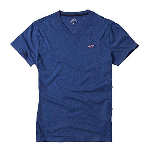 Hollister Mens Tee Graphic T Shirt V Neck  L  Blue V900