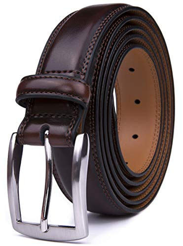 Men's Belt, Classic and Fashion Designs for Work Business and Casual, Regular Big & Tall Sizes Handmade Genuine Leather, Black White Brown Wine Navy Tan (32, Mahogany)