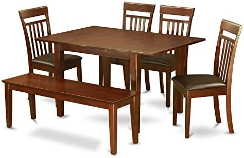 PSCA6C-MAH-LC 6-Pc Dining room set with bench -small Table with 4 Dining Chairs and Bench