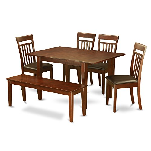East West Furniture PSCA6C-MAH-LC 6-Piece Dining Table Set