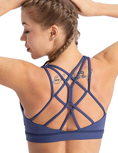 coastal rose Women's Yoga Bra Top Strappy Back Push Up Crop Sports Bra Activewear US M Twilight Blue (Womens Push Up Sports Bras)