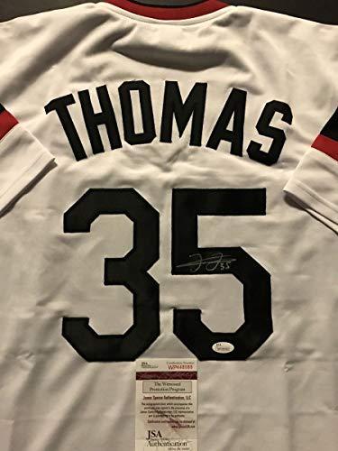 Autographed/Signed Frank Thomas Chicago Retro Baseball Jersey JSA COA