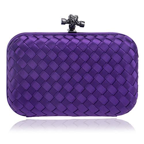 Jancerkmou Elegant Ladies Evening Clutch with Chain Cross Knit Weave Shoulder Handbags Purse Wallets for Wedding Purple
