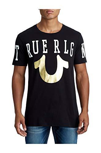 True Religion Mens TR ACRS Stretch Logo Metallic Gold Foil Logo Tee T-Shirt in Black