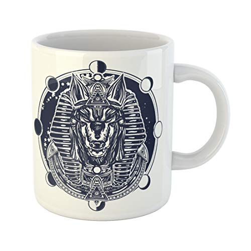 Emvency Funny Coffee Mug Anubis and Moon Phase Tattoo and Ancient Egypt God of War Golden Mask the Pharaoh 11 Oz Ceramic Coffee Mug Tea Cup Best Gift Or Souvenir -