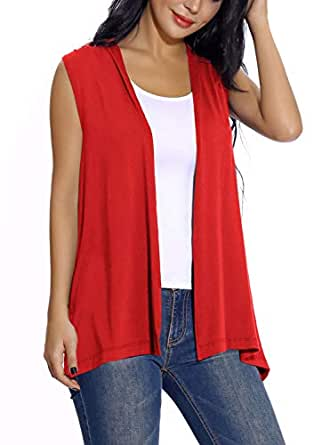 EXCHIC Women's Sleeveless Open Front Cardigan Vest Lightweight Cool Coat - Red - Small