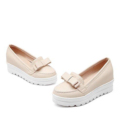 sólido cerrada mujer zapatos para Punta PU tacones VogueZone009 beige con punta gatito cerrada bombas 14q8SYw5
