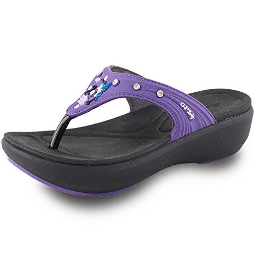 Gold Pigeon Shoes GP7530W Women Comfort Padding Flip Flop, Prime-Black Purple, EU38