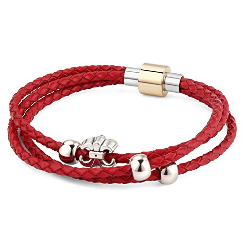 RareLove Leather 3 Wrap Bracelet Stainless Steel Fleur De Lis Red 7.8 (Hippie Outfits For Guys)