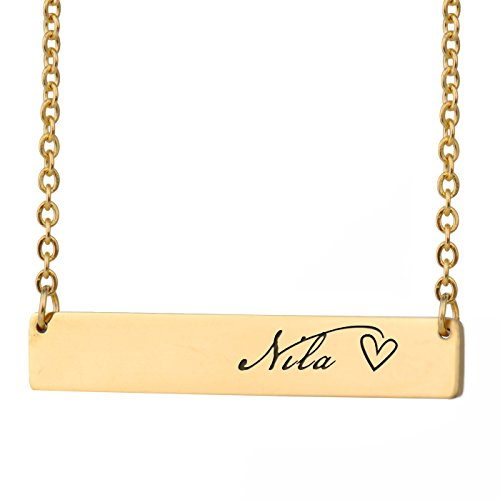 Jacobs Photo - HUAN XUN Nila Name Jacob Necklace Name Bar Initial Necklace Personal Jewelry Birthday Valentine Gift