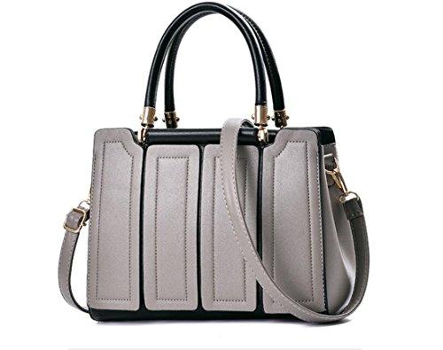 Presidente paquetes nuevos bolso bolsa de mujer estilo europeo y americano de la mediana edad empalme hembra Pack solo con un bolso de mano rojo multi-pack paquetes paquetes nupcial, negro Gris