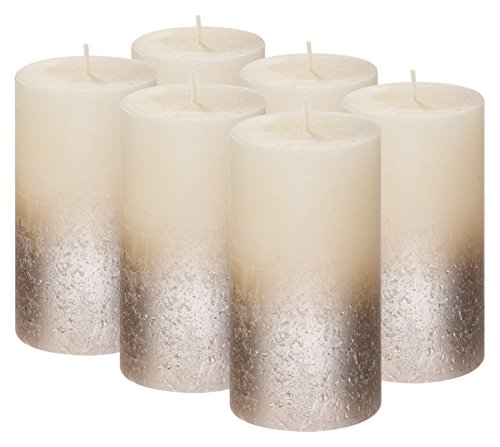 BOLSIUS Rustic Set of 6 Pillar Candles – 5 x2.75 Inches Metallic Unscented Candles – Ivory Candles with Silver Coated Bottom – Nice Candles – Pillar Candles – Home & Party Decorations