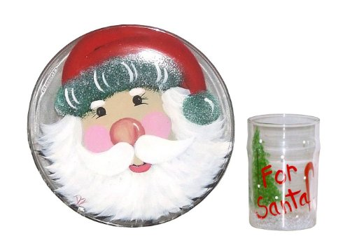 ArtisanStreet's Hand Painted Santa Cookie Plate with Matching Glass for Santa Claus. Made to Order,