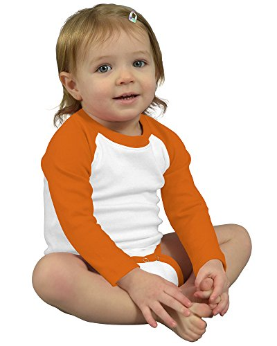 - Monag Long Sleeve Raglan Bodysuit 3-6M White/Orange