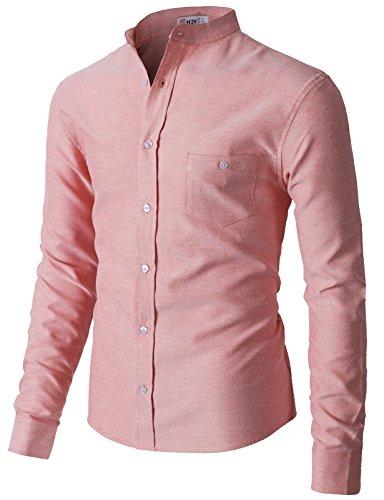 H2H Mens Dress Shirts Casual Regular Fit Spread Collar Shirt RED US L/Asia XL (KMTSTL0552)