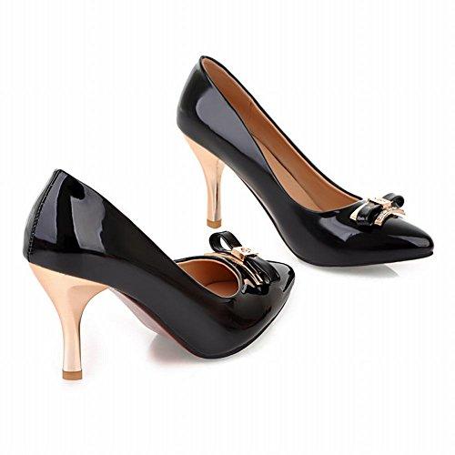 MissSaSa Damen high-heel Pointed Toe Low-cut Lackleder Pumps mit Schleife Schwarz