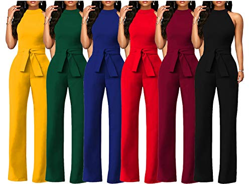 8af9187afc4 Chic-Lover Women s Elegant Solid Jumpsuit High Waisted Wide Leg Pants  Jumpsuits Romper with Belt