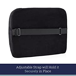 King Comfort Lumbar Support Pillow – Deluxe Lower Back Support Cushion for Chairs for Low Back Pain Relief – Best for Office Chair, Desk, Car Seat, Wheelchair, Recliner – Black