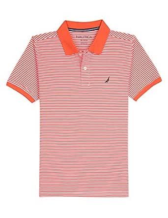 Nautica Toddler Boys' Short Sleeve Striped Deck Polo Shirt, Cobbler Hibiscus, 2T