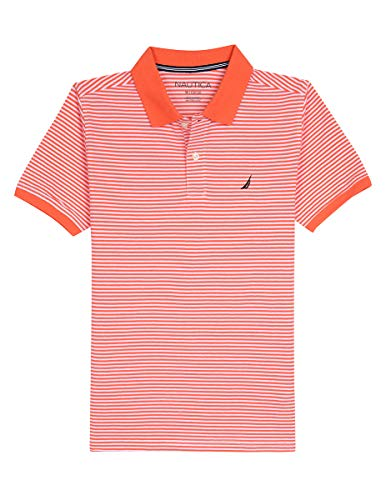 Nautica Boys' Short Sleeve Striped Deck Polo Shirt, Cobbler Hibiscus, X-Large (18/20)
