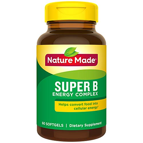 Nature Made Super B Energy Complex Softgels, 60 Count for Metabolic Health† (Packaging May Vary) - Folic Acid B-50 250 Capsules