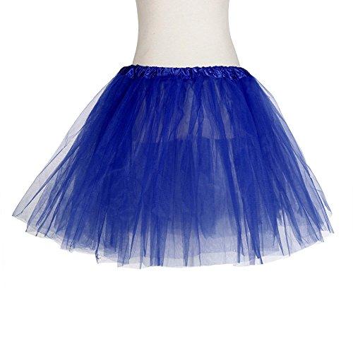 Adulte Gaze Danse Travers Femme de 3 Tutu Bleu Voir Jupe Tutu Courte Couches Fonc de Plisse xwI0wqF