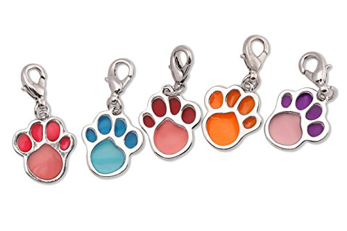 Six Paw Print Pendants in 6 Different Colors (Lobster Clasps (Cat Turquoise Pendant)