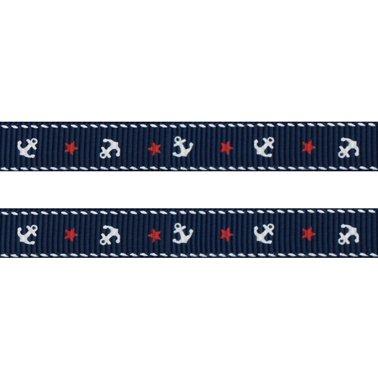 1m Ripsband ANKER + STERN 10mm weiß/marine (864) maritin noname