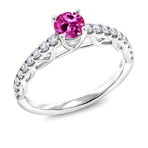 (Gem Stone King 0.91 Ct Round Pink Created Sapphire G/H Lab Grown Diamond 10K White Gold Engagement Ring (Size 8))