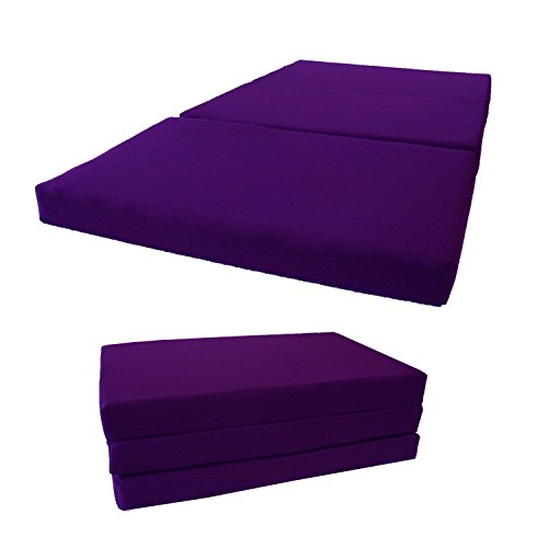 Brand New Twin Size Shikibuton Tri Fold Foam Beds 3' Thick X 39' Wide X 75' Long, 1.8 Lbs High Density Resilient White Foam, Floor Foam Folding Mats, Tri-fold Folded Foam Bed. (Purple)