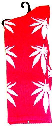 Weed Socks Marijuana Design Red with White Leaves