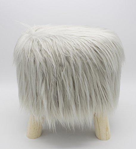 - Fennco Styles Mongolian Long Hair Faux Fur Stool (Grey)