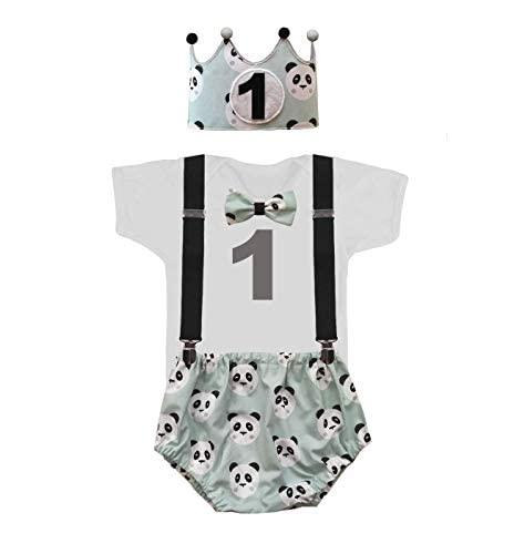 Conjunto primer cumpleaños 1 año niño pandas color verde ...