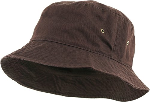 KBETHOS KB-BUCKET1 BRN Unisex 100% Washed Cotton Bucket Hat Summer Outdoor Cap - Knit Bucket Hat