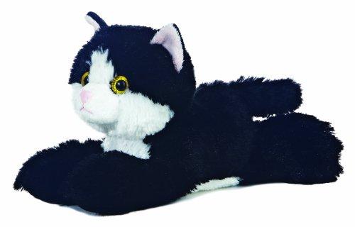 """8"""" Mini Black & White Flopsie Maynard Cat Soft Toy"""