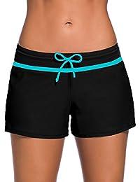 Women Swimsuit Shorts Tankini Swim Briefs Side Split Plus...